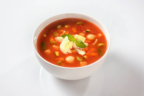 minestrone soup with cheese and basil - minestrone foto e immagini stock