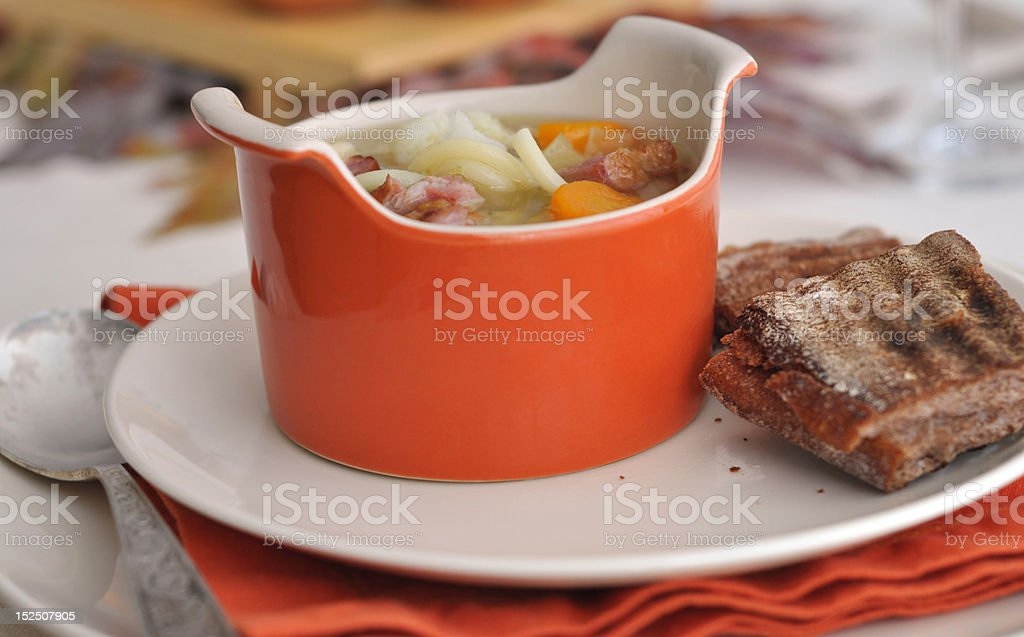 Minestrone Soup with french toast, royalty-free stock photo