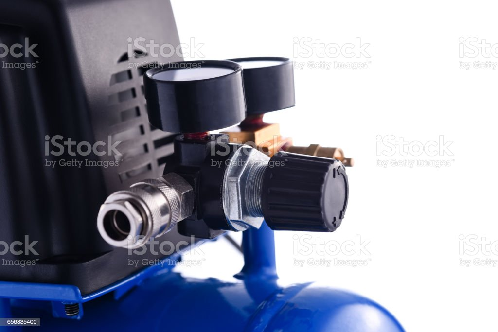 Mini blue compressor pressure gage details isolated on white background stock photo