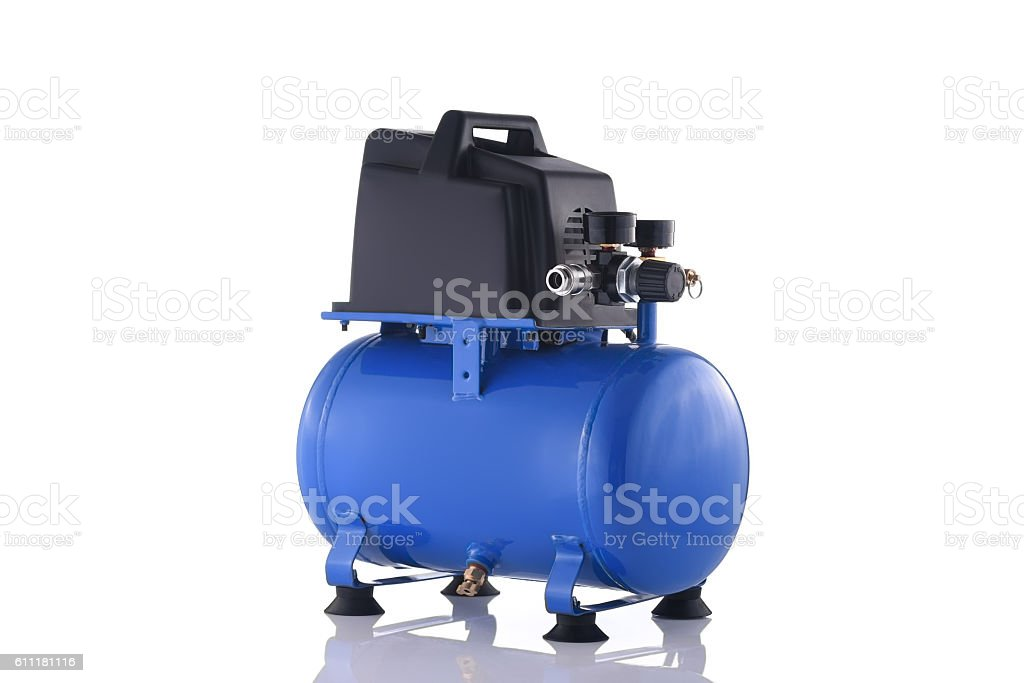 Mini blue compressor side view isolated on white background stock photo