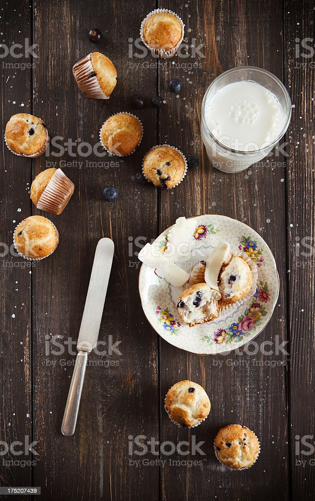 Mini blueberry cupcakes or muffins plated rustically. royalty-free stock photo