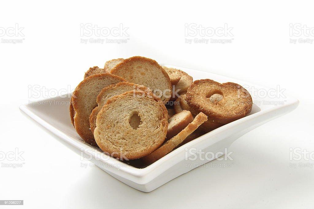mini bread chips snacks stock photo