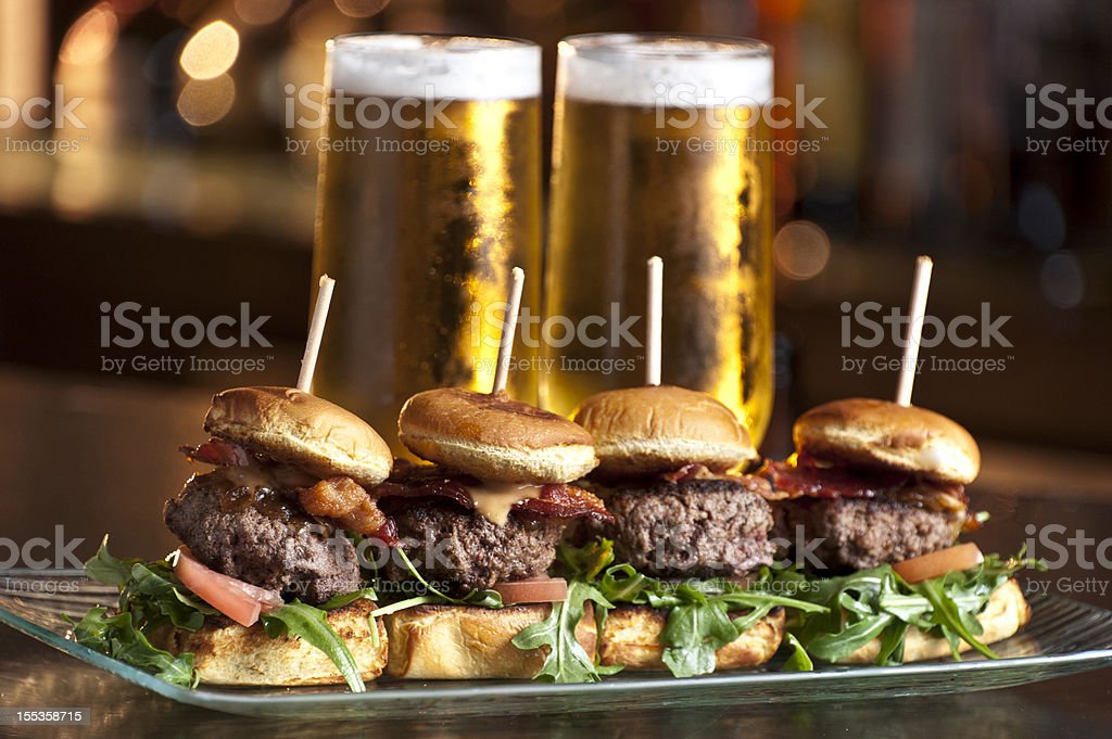 Mini Burgers and Beer stock photo