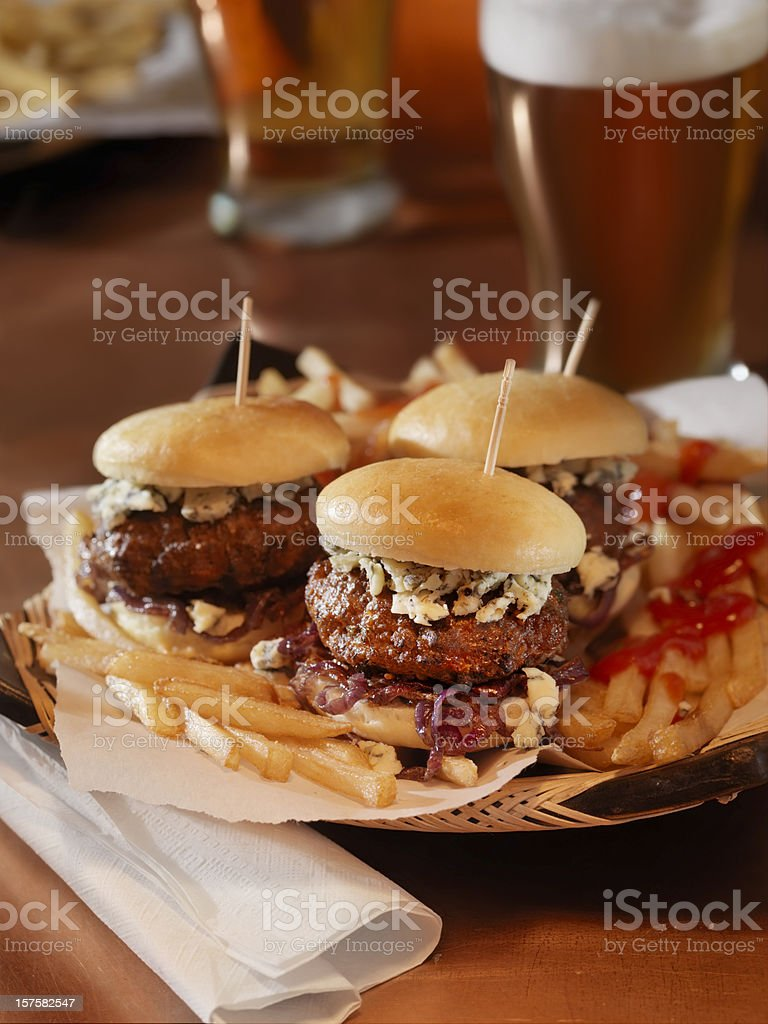 Mini Burgers with a Beer royalty-free stock photo