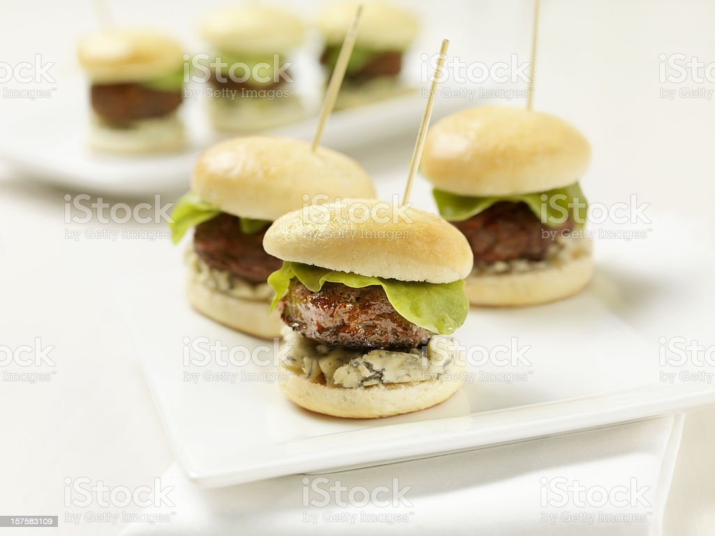 Mini Burgers with Blue Cheese and Lettuce stock photo