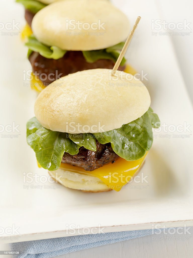 Mini Burgers with Cheddar Cheese royalty-free stock photo