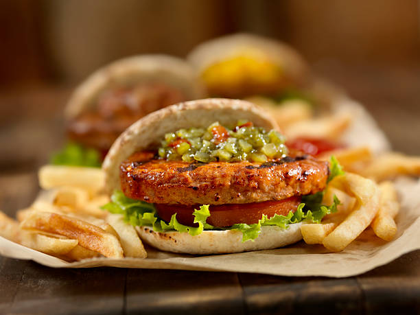 Mini Burger's with Sweet Green Relish stock photo