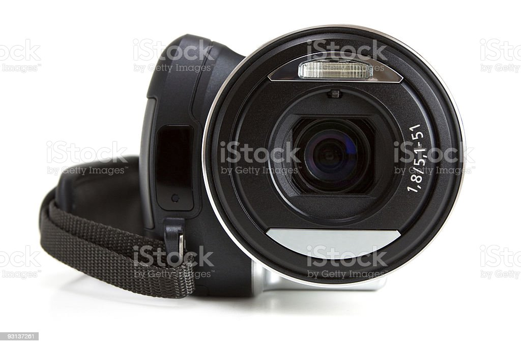 Mini camcorder isolated on white stock photo