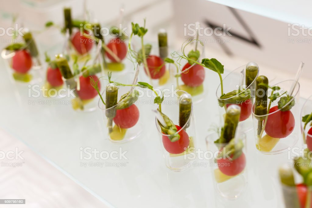 mini canapes vegetable snacks in plastic cups canapes royalty free stock photo - Mini Canape