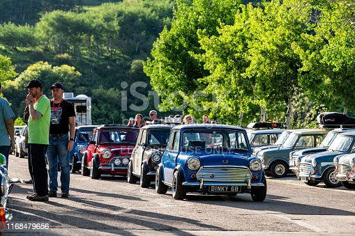 Aspen, USA - June 24, 2019: Mini car event in parking lot with many vehicles in Snowmass Village, Colorado during summer