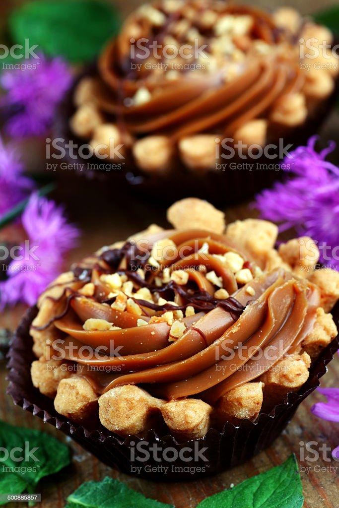Mini caramel tart stock photo