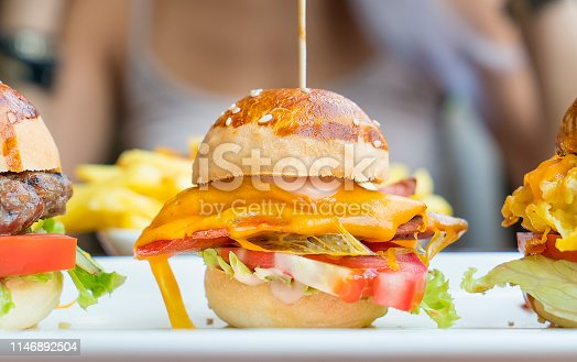 Mini Cheeseburger with French fries chips