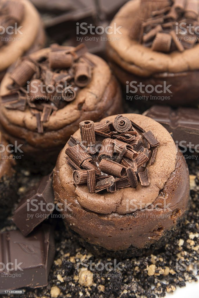 Mini Chocolate cheesecakes royalty-free stock photo