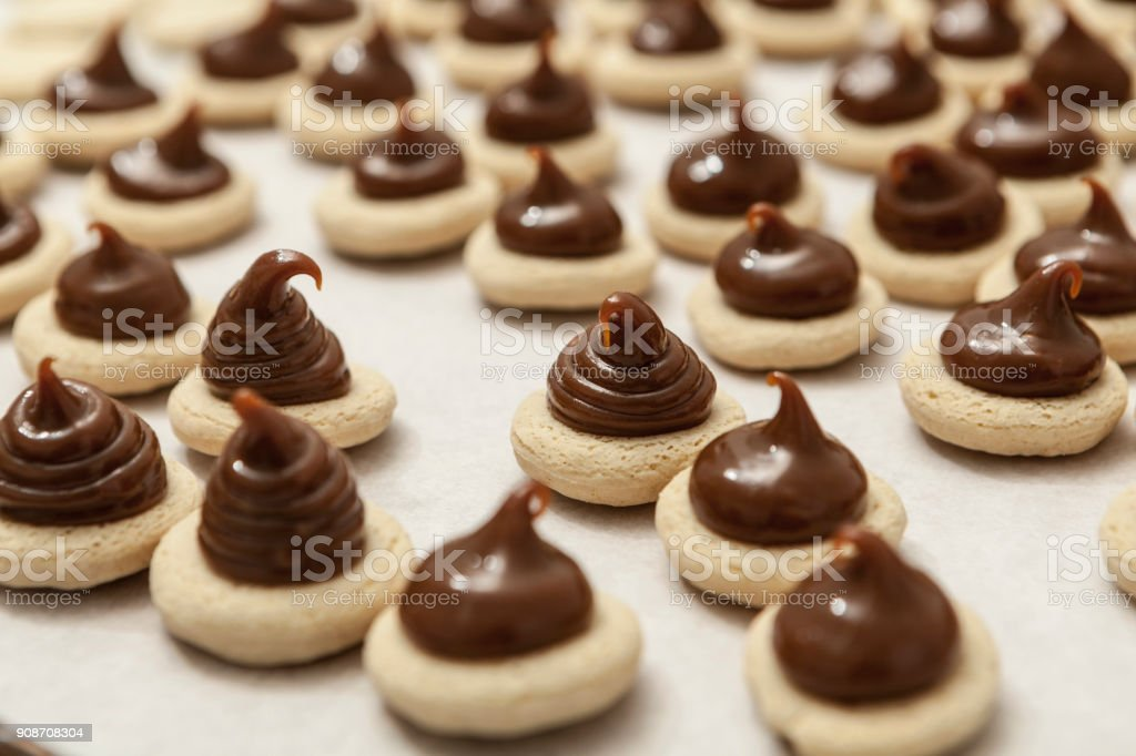 Mini Chocolate Cookies stock photo