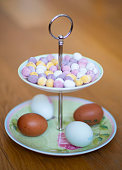 Easter egg display on a pastel coloured cake stand
