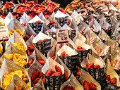Mini Chorizos for sale on San Miguel Market, Madrid, Spain