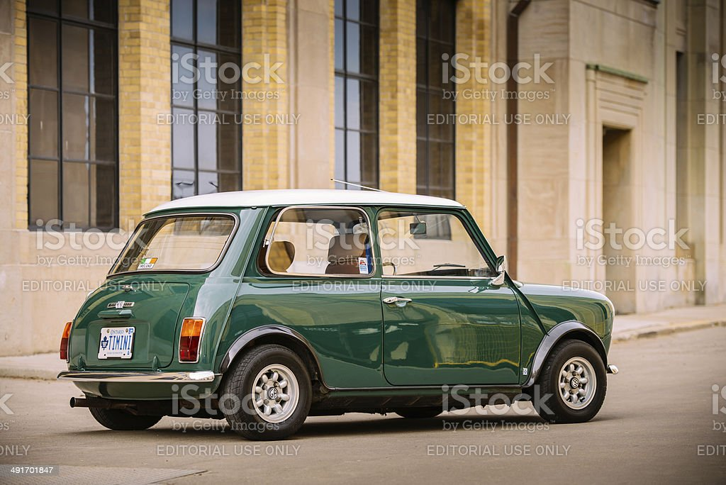 Mini Cooper Classic in spring time stock photo
