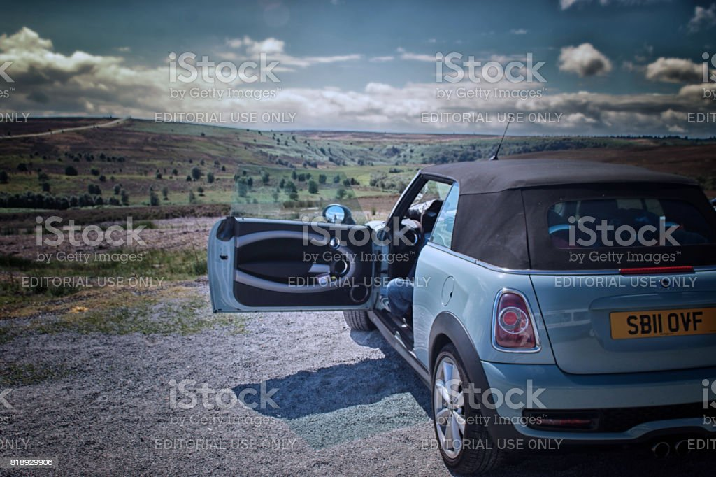 Mini Cooper convertible overlooking Yorkshire dales