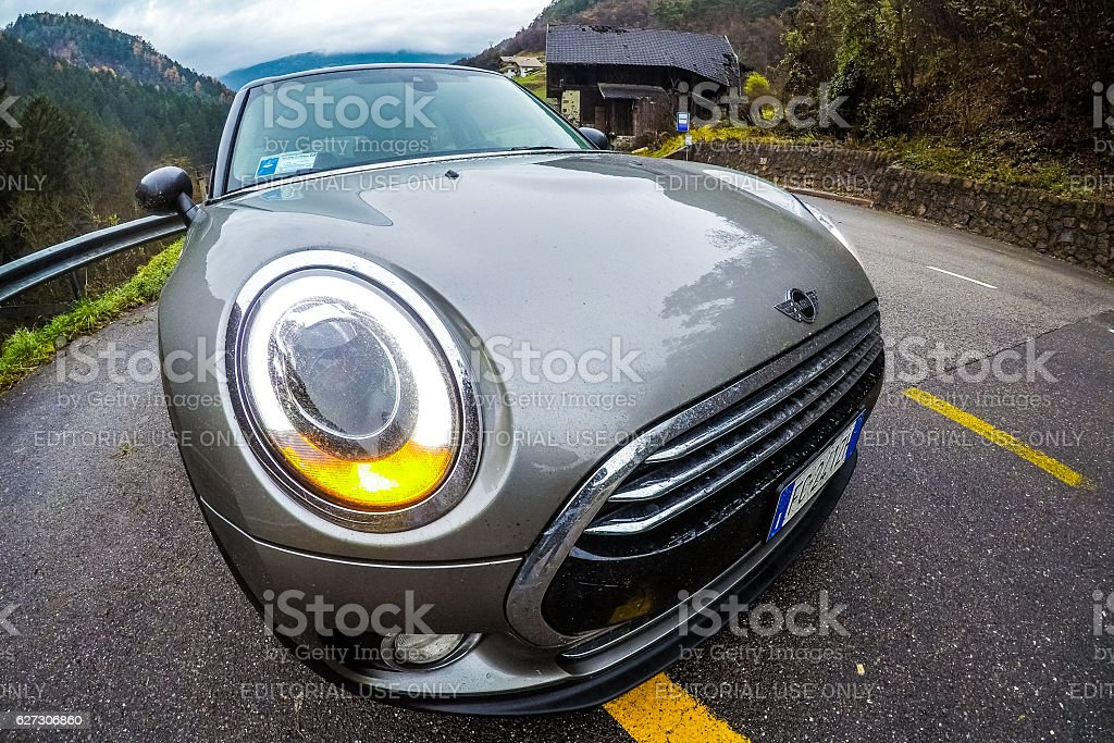 Mini Cooper D Clubman on a countryroad in mountain stock photo