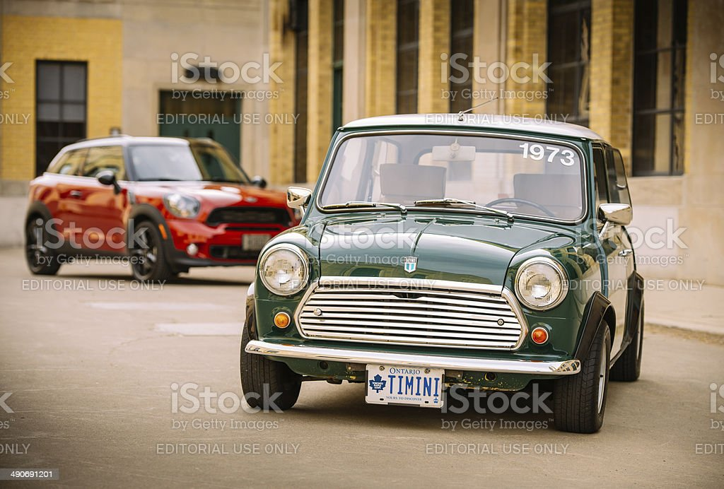 Mini Cooper Generations in spring time stock photo