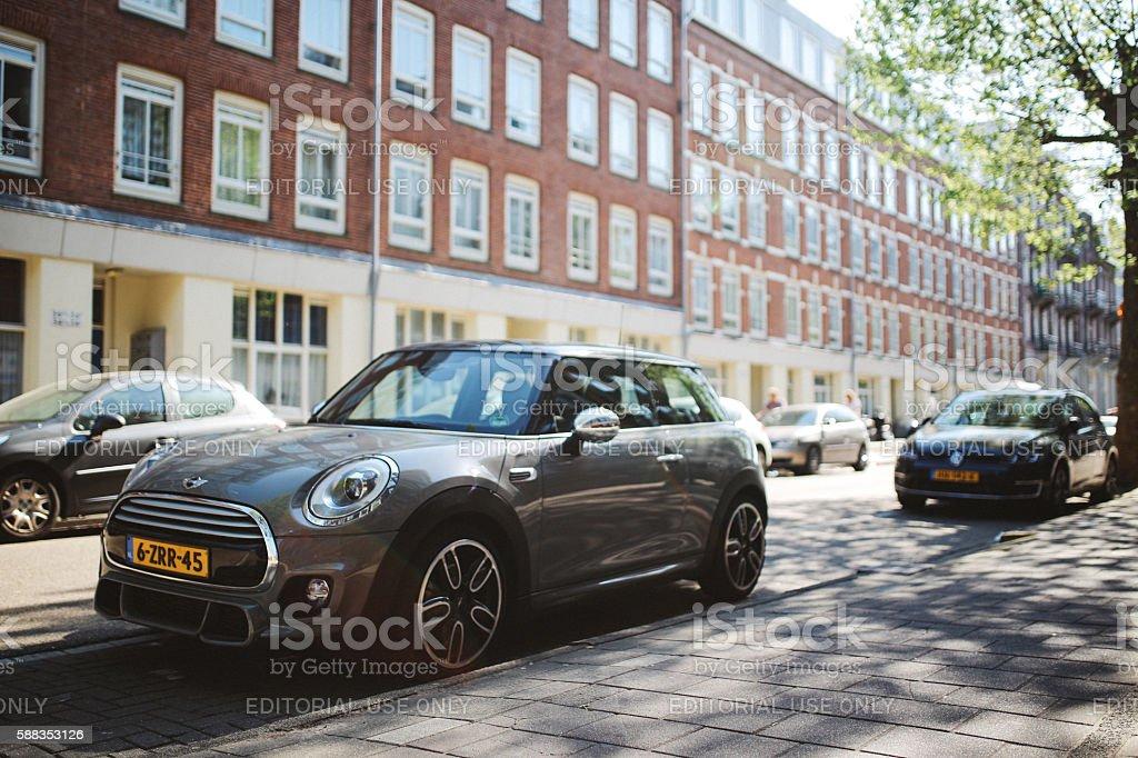 Mini Cooper in Amsterdam stock photo