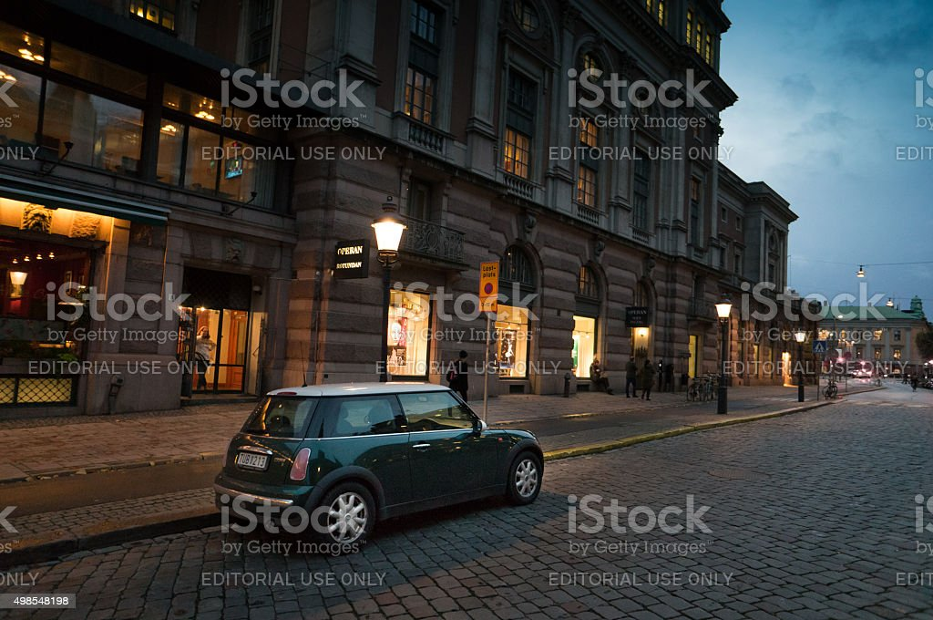 BMW Mini Cooper in Stockholm Old Town stock photo