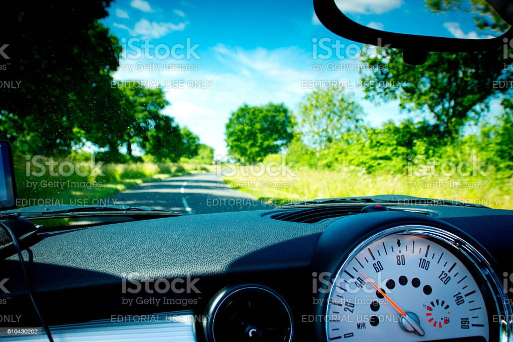Mini Cooper interior stock photo