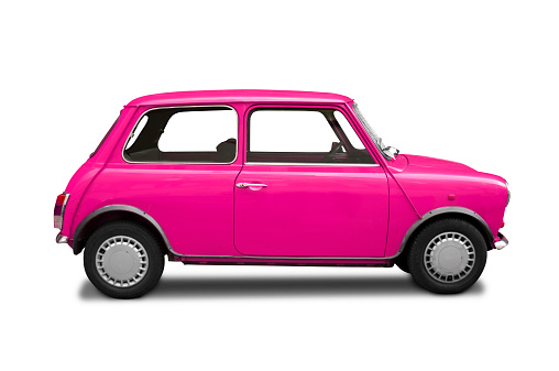 Classic Mini Cooper pink on white background.