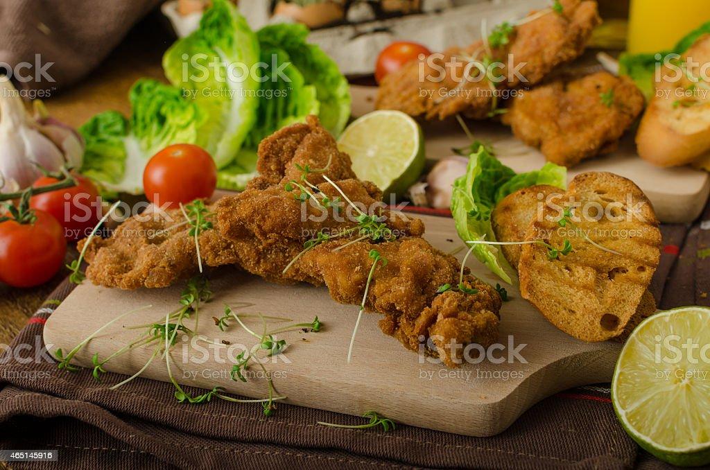 Mini cutlets - schnitzels stock photo