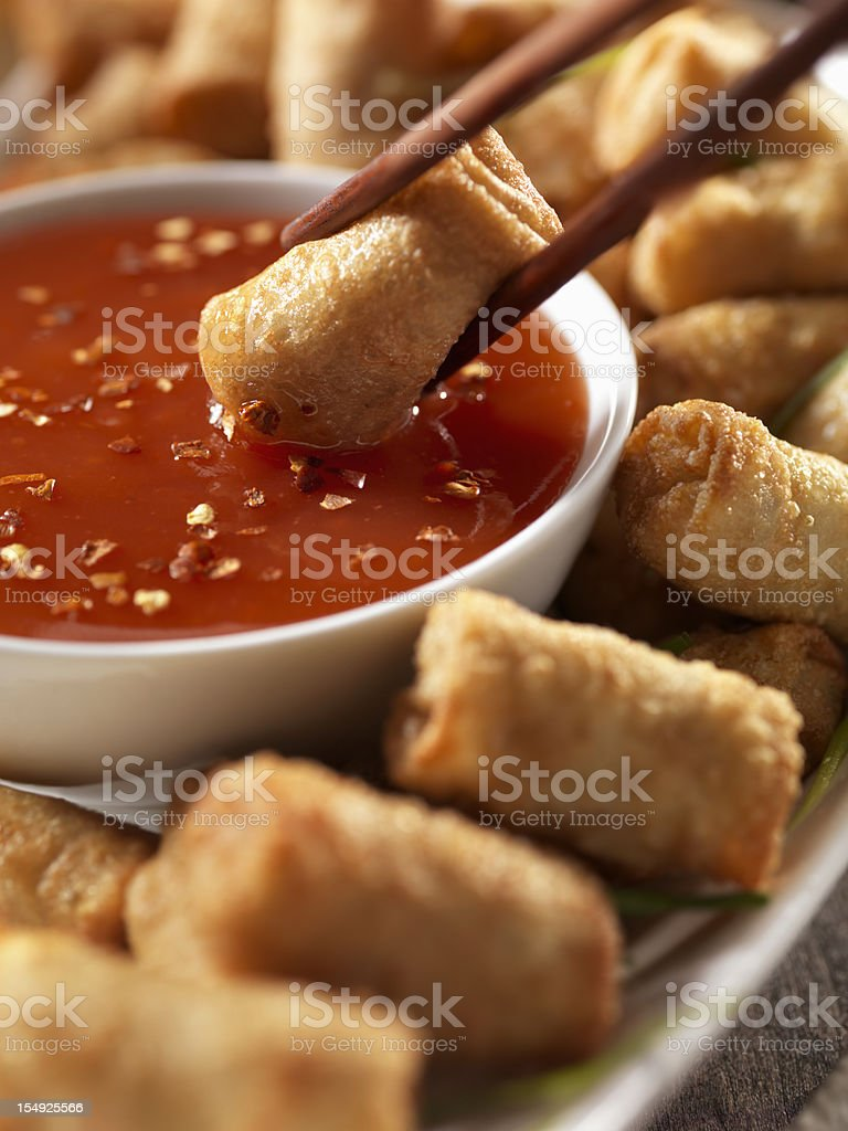 Mini Egg Rolls with Plum Sauce stock photo