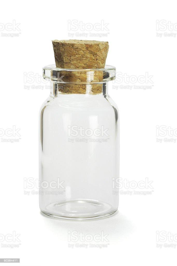 Mini empty glass container stock photo