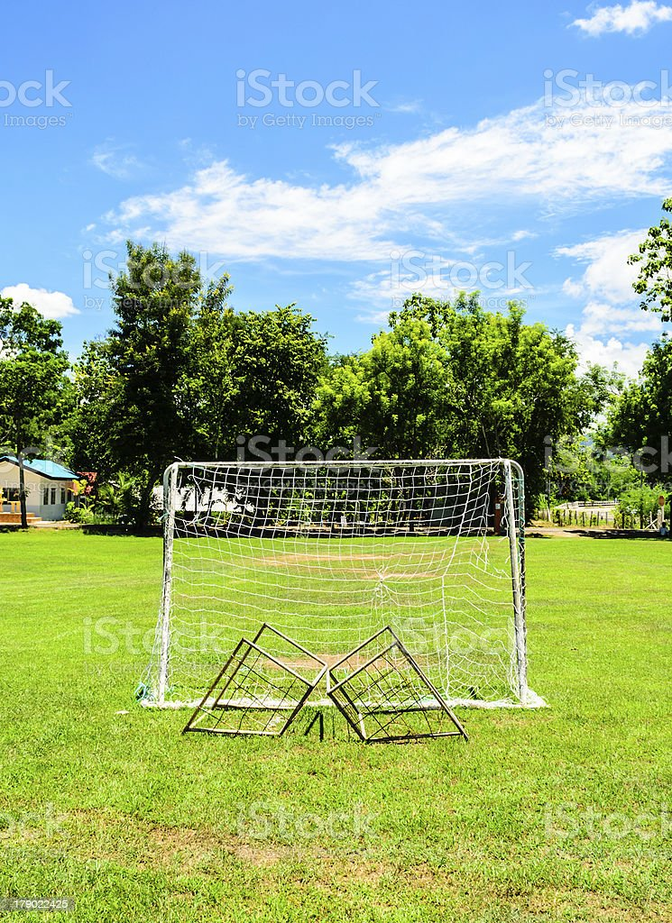 Mini Football goal in College royalty-free stock photo