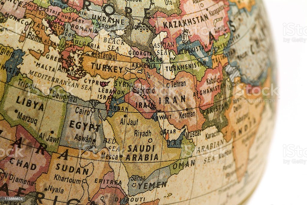 Mini Globe Middle East royalty-free stock photo