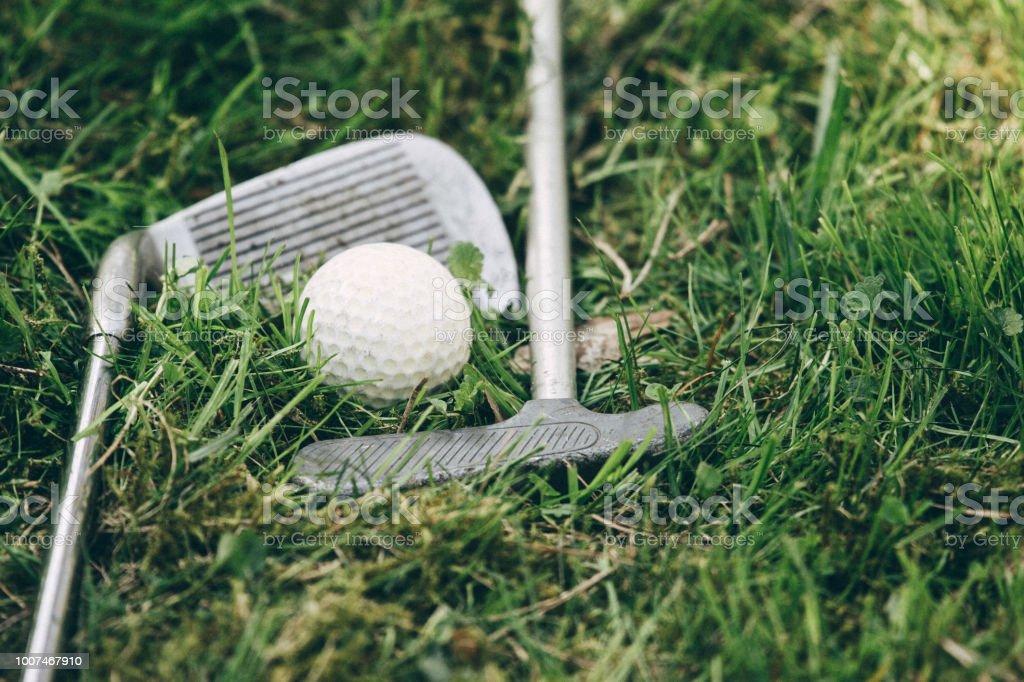 Mini golf equipment on the grass