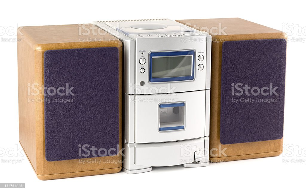 Mini Hi-Fi stereo system with speakers on a white background stock photo