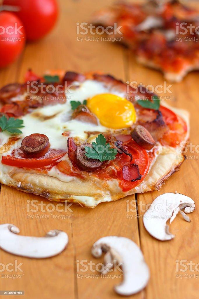Mini Homemade Breakfast Pizza stock photo
