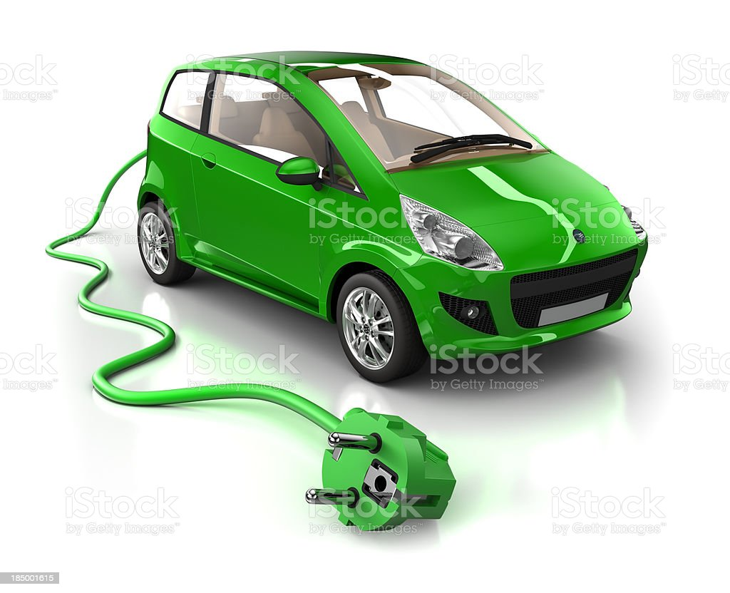 Mini Hybrid Car with cable - isolated on white/clipping path royalty-free stock photo