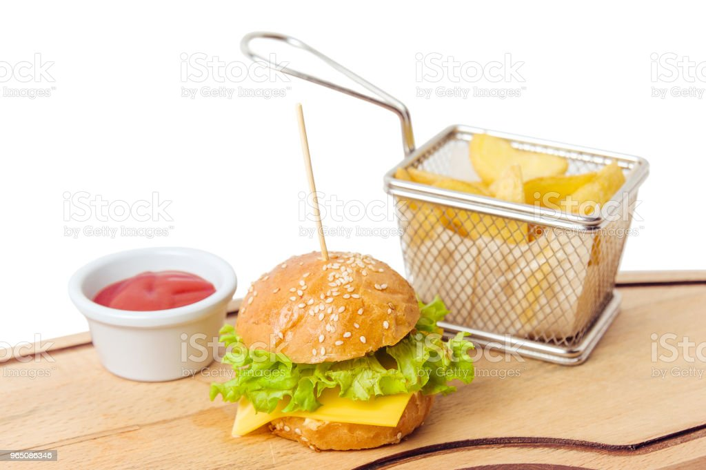 mini kid burger with juice and potato isolated on white background zbiór zdjęć royalty-free