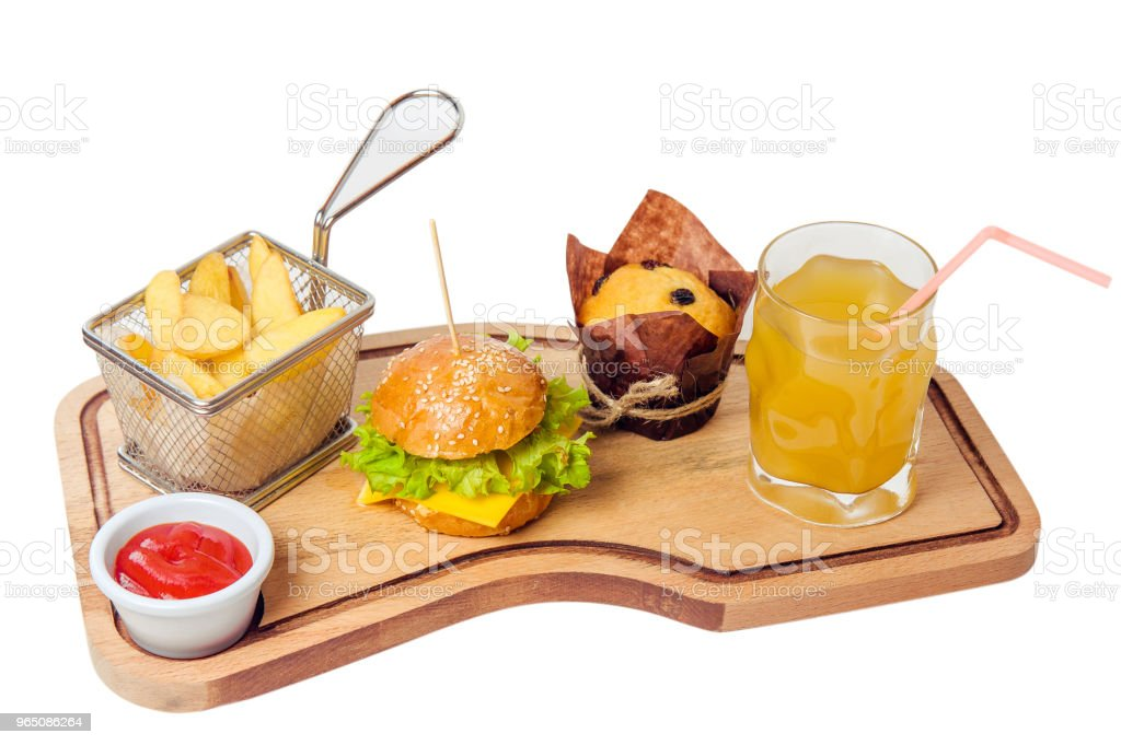 mini kid burger with juice, potato and cake isolated on white background zbiór zdjęć royalty-free