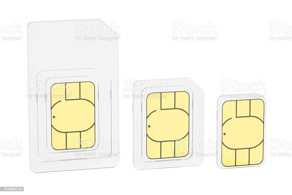 Mini, micro, nano sim cards, 3D rendering stock photo