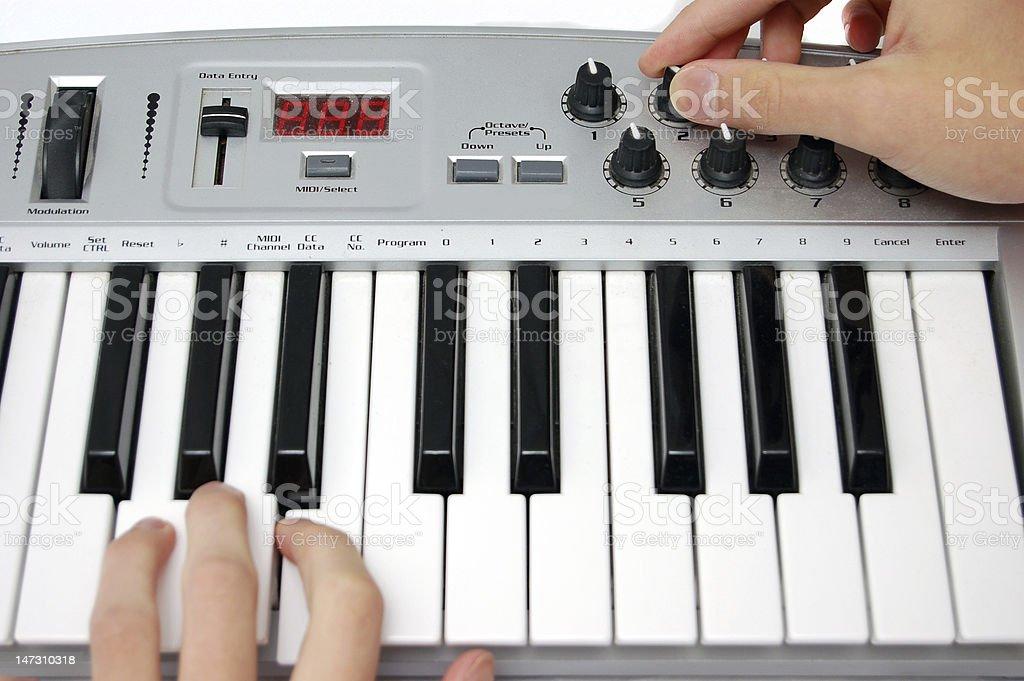 Mini midi keyboard controller stock photo