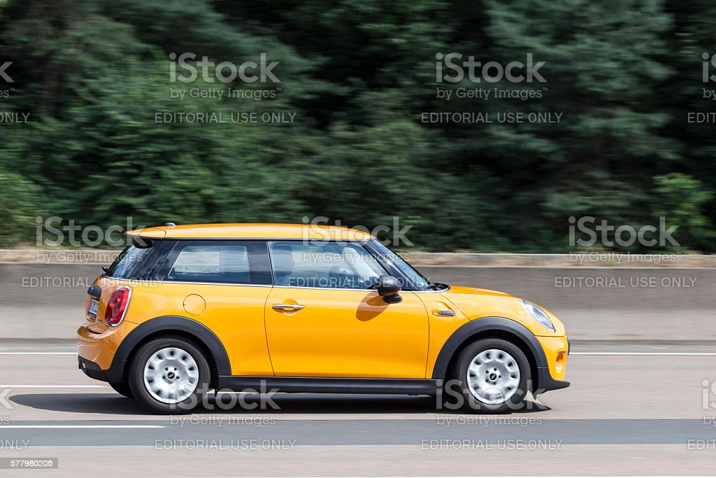 Mini One on the road stock photo