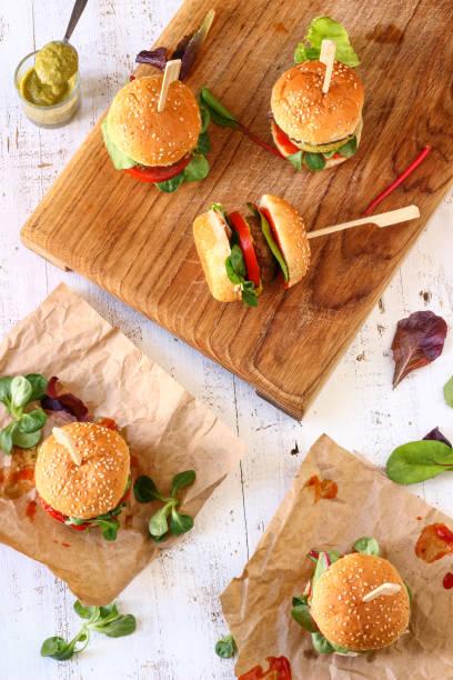 Mini Pesto Burger Sliders stock photo
