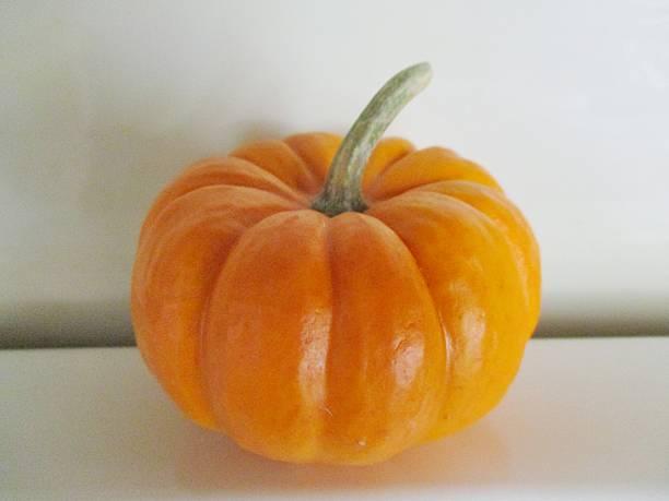 Mini Pumpkin on a White Surface stock photo