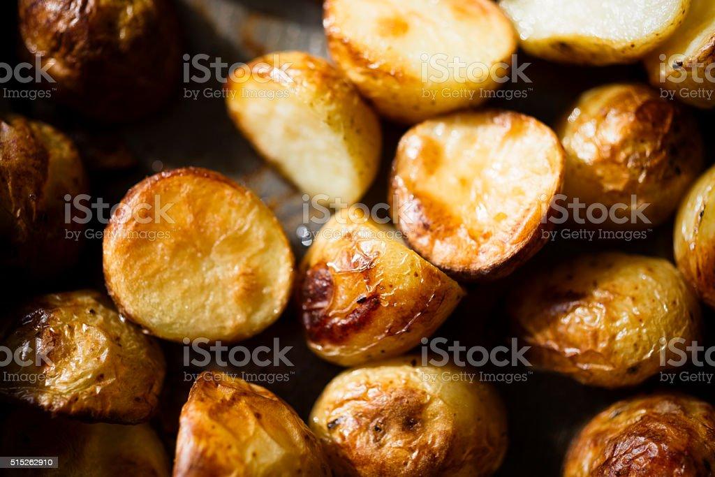 Mini Roast Potatoes stock photo