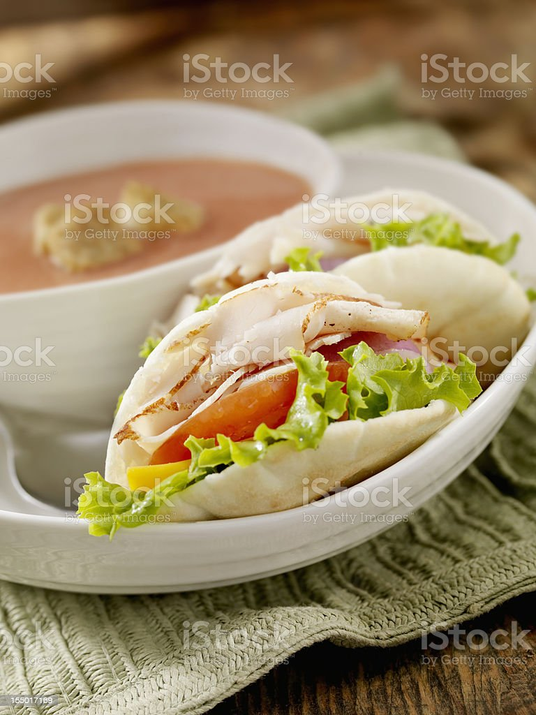 Mini Roast Turkey Pita Sandwich royalty-free stock photo