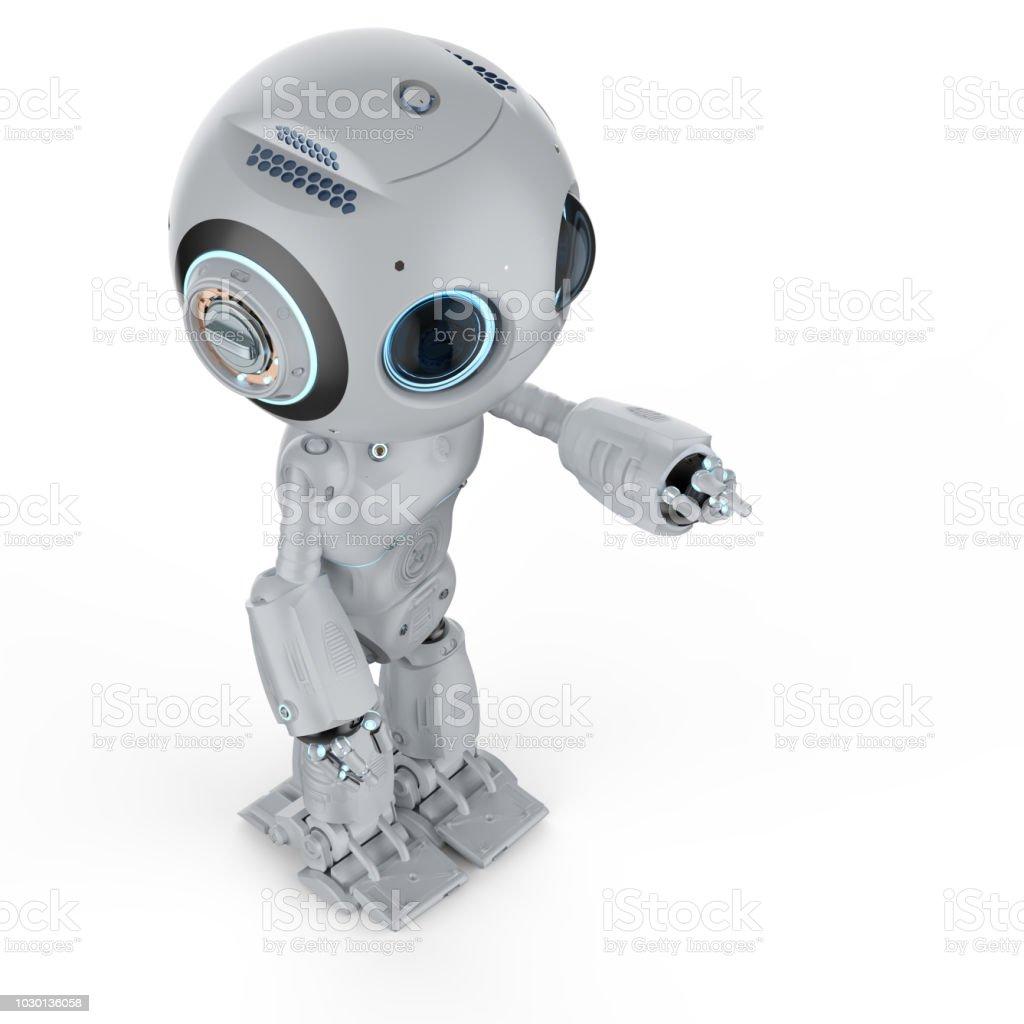 미니 로봇 손가락 포인트 스톡 사진