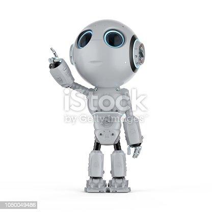 3d rendering mini robot finger point on white background