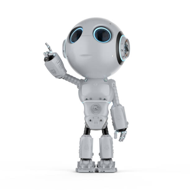 mini robot finger point - cybernetic stock pictures, royalty-free photos & images