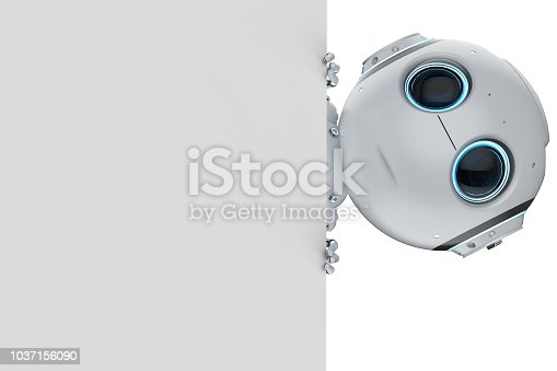3d rendering cute artificial intelligence robot with empty note